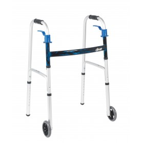 "Deluxe Trigger Release Folding Walker with 5"" Wheels"