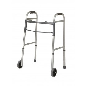 "Two-Button Folding Walkers with 5"" Wheels (Adult)"