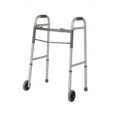 """Two-Button Folding Walkers with 5"""" Wheels (Adult)"""