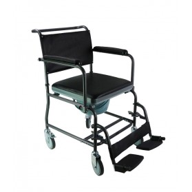 Mobile Steel Commode with Wheels