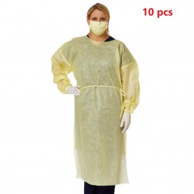 Over-Head Isolation Gown with Side Ties, Yellow (Size: Regular)