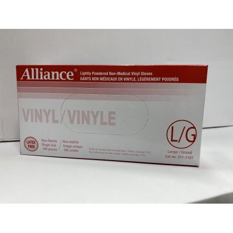 Lightly Powdered Non-Medical Vinyl Gloves- Alliance (Size-L) 100/Box