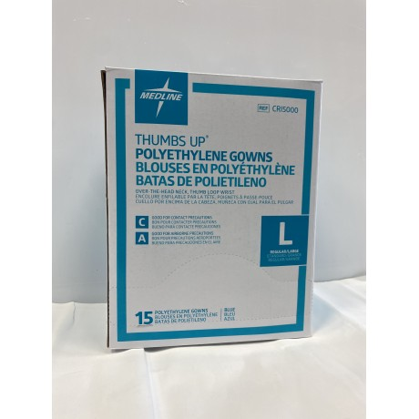 Thumbs Up Disposable Polyethylene Gowns (Open Back) Size Regular