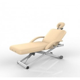 2 Section Massage Table With Armrest and Foot Remote (Beige)
